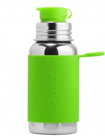 Pura Kiki Sports Top Steel Water Bottle 18oz/550ml Green Sleeve Flip Lid