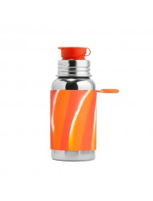 Pura Kiki 18oz / 550 ml Orange Swirl Sleeve Stainless Steel Sports Bottle