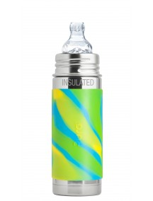 Pura Kiki 9 Oz / 260 Ml Stainless Steel Insulated Infant Bottle With Silicone Sippy Cup & Sleeve, Aqua Swirl By Montyybucks Inc.