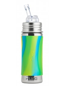 Pura Kiki 11 Oz Stainless Steel Straw Vaccum Insulated Bottle, Aqua Swirl By Montyybucks Inc.