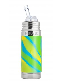 Pura Kiki 9 Oz / 260 Ml Stainless Steel Straw Vaccum Insulated Bottle , Aqua Swirl By Montyybucks Inc.