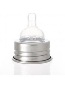 Pura Kiki Steel Feeding Bottle 11oz/325ml Orange Swirl With Nipple