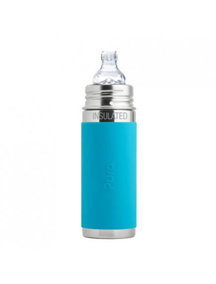 Pura Kiki 9oz Aqua Sleeve Vaccum Insulated Sippy Cup Feeding Bottle By Montyybucks Inc.