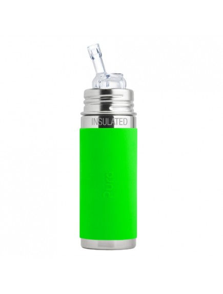 Pura Kiki 9oz Green Sleeve Straw Vaccum Insulated Bottle By Montyybucks Inc.