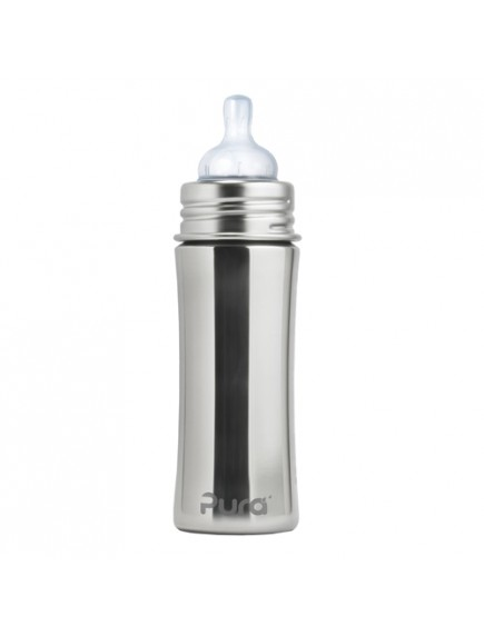 Pura Kiki 11oz Natural Stainless Steel Infant Feeding Bottle By Montyybucks Inc.