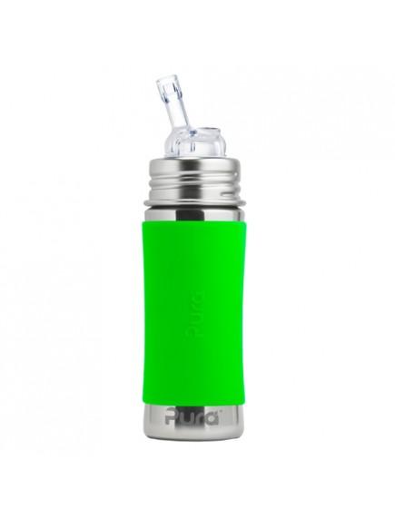 Pura Kiki 11oz Green Sleeve Straw Stainless Steel Bottle By Montyybucks Inc.