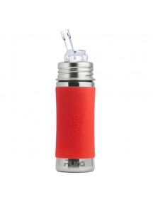 Pura Kiki 11oz Orange Sleeve Straw Stainless Steel Bottle