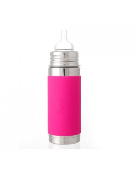 Pura Kiki 9oz Pink Sleeve Vaccum Insulated Infant Feeding Bottle By Montyybucks Inc.