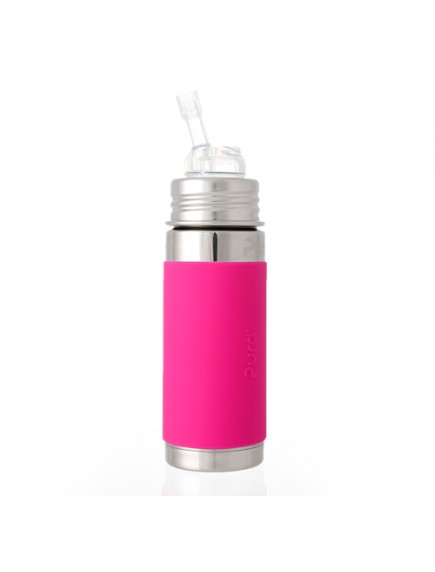 Pura Kiki 9oz Pink Sleeve Straw Vaccum Insulated Bottle By Montyybucks Inc.