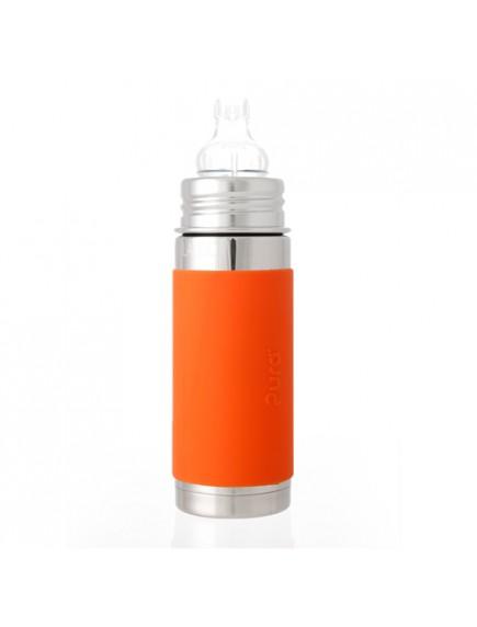 Pura Kiki 9oz Orange Sleeve Vaccum Insulated Sippy Cup Feeding Bottle