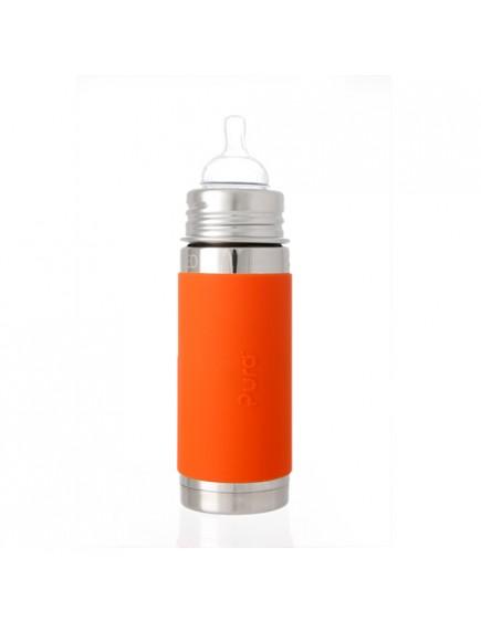 Pura Kiki 9oz Orange Sleeve Vaccum Insulated Infant Feeding Bottle