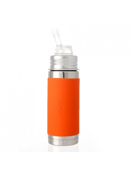 Pura Kiki 9oz Orange Sleeve Straw Vaccum Insulated Bottle