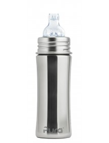 Pura Kiki 11oz Natural Stainless Steel  Sippy Cup Feeding Bottle By Montyybucks Inc.