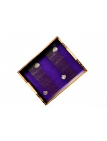 MontyyBucks Handcrafted Pinewood Multicolor Paithani Fabric Tray Rectangle with Cutout Grip Handles